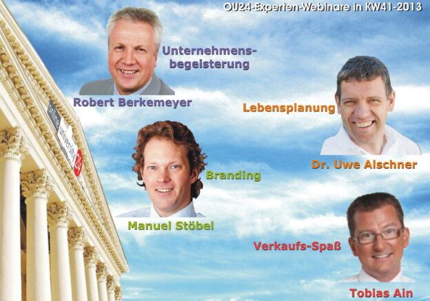 Robert Berkemeyer-Unternehmensbegeisterung, Dr. Uwe Alschner-Big Five for Life, Manuel Stöbel-Der gute Ton Ihres Unternehmens, Tobias Ain-Spaß-Verkaufsturbo