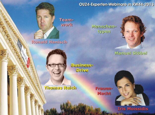 OU24-Experten-Webinare in der KW 44-2013 mit Projektemanagement, Bessere Kommunikation, eigene Antreiber und Frauen & Karriere
